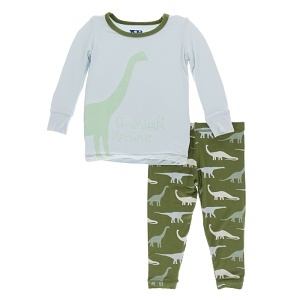 Kickee Pants Print Pajama Set - Moss Goodnight