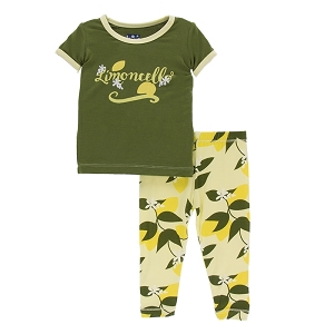 Kickee Pants Pajama Set - Lime Blossom Lemon Tree
