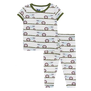 Kickee Pants Pajama Set - Natural Tractor
