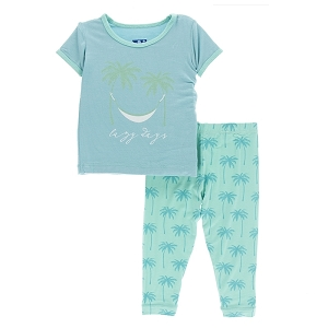 Kickee Pants Print Pajama Set - Glass Palm Trees