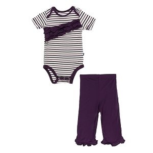 Kickee Pants Short Sleeve Ruffle Onesie & Ruffle Pant Set - Tuscan Vineyard Stripe