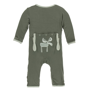 KicKee Pants Applique Coverall with Zipper in Succulent Moose