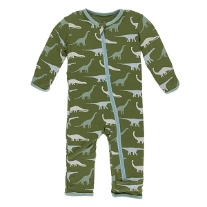 KicKee Pants Print Coverall with Zipper - Moss Sauropods