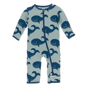 Kickee Pants Print Coverall with Zipper - Jade Whales