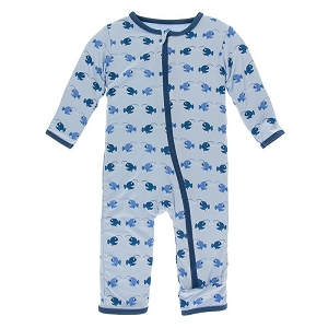 Kickee Pants Print Coverall with Zipper - Pond Angler Fish