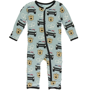 Kickee Pants Print Coverall with Jade Law Enforcement