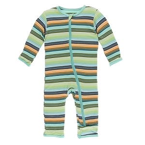 KicKee Pants Print Coverall with Zipper - Cancun Glass Stripe