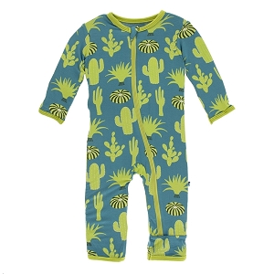 KicKee Pants Print Coverall with Zipper - Seagrass Cactus