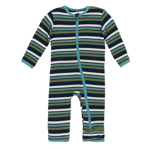 KicKee Pants Print Coverall with Zipper - Botany Grasshopper Stripe