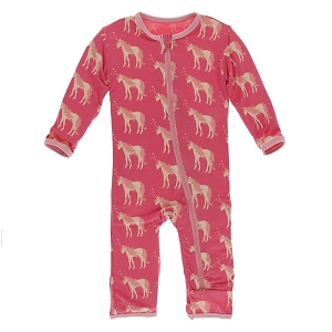 Kickee Pants Coverall with Zipper in Red Ginger Unicorn