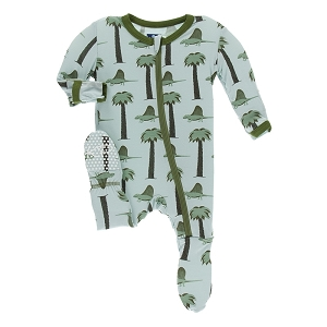 Kickee Pants Print Footie with Zipper - Dimetrodon
