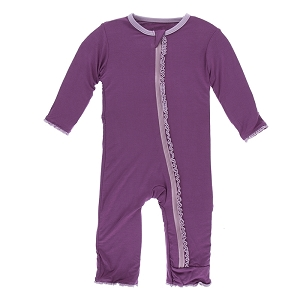 Kickee Pants Solid Muffin Ruffle Coverall with Zipper - Amethyst with Sweet Pea
