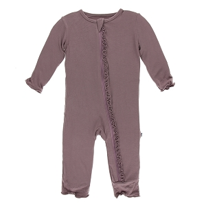 Kickee Pants Solid Muffin Ruffle Coverall with Zipper - Raisin