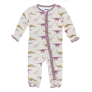 Kickee Pants Print Muffin Ruffle Coverall with Zipper - Natural Sauropods