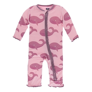 Kickee Pants Solid Muffin Ruffle Coverall with Zipper -  Lotus Whales