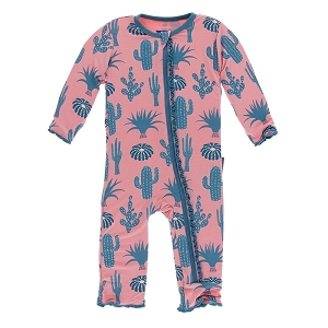Kickee Pants Print Ruffle Coverall with Zipper - Strawberry Cactus