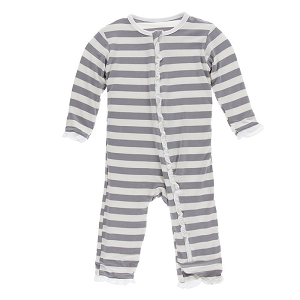 Kickee Pants Print Ruffle Coverall with Zipper - Feather Stripe