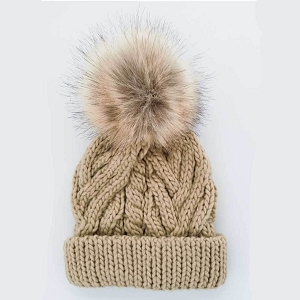 Birch Cable Knit Pom Beanie