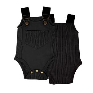 Black Organic Ribbed Bodysuit