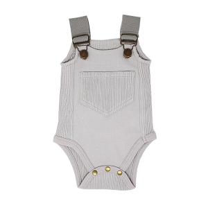 Grey Organic Ribbed Bodysuit