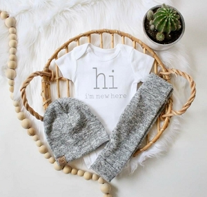 HI I'm New Here Onesie - Brushed Grey