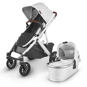 UPPAbaby Vista V2 Stroller - Bryce (White Marl/Silver/Chestnut Leather)