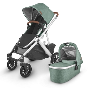 2020 UPPAbaby Vista V2 Stroller - Emmett (Green Melange/Silver/Saddle Leather)