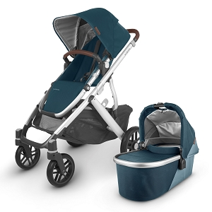 2020 UPPAbaby Vista V2 Stroller - Finn (Deep Sea/Silver/Chestnut Leather)