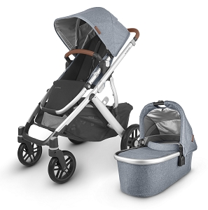 2020 UPPAbaby Vista V2 Stroller - Gregory (Blue Melange/Silver/Saddle Leather)