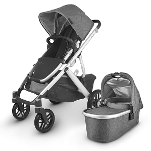 UPPAbaby Vista V2 Stroller - Jordan (Grey Melange/Silver/Black Leather)