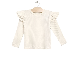 Natural Rib Flutter Sleeve Top