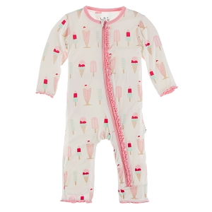 Kickee Pants Solid Muffin Ruffle Coverall with Zipper -  Natural Ice Cream Shop