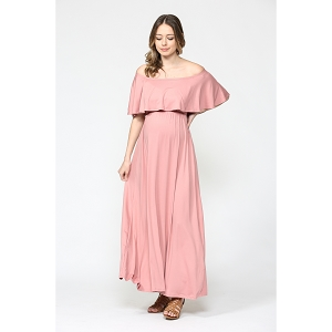 Mauve Ruffle Off The Shoulder Maternity Dress