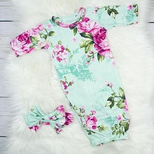 Baby Gown & Headband Set - Aqua Floral