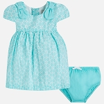 Mayoral Baby Girl Eyelet Dress with Bows - Tiffany Blue