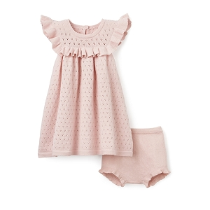 Pink Pointelle Flutter Dress & Bloomer