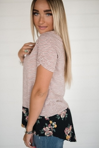 Benton Harbor Top - Stripe & Floral