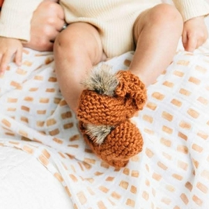 Fur Pom Booties - Cinnamon