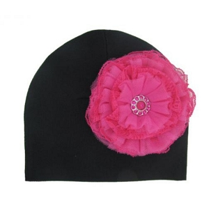 Black Hat with Raspberry Lace Rose