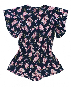 RuffleButts Blooming Navy Romper