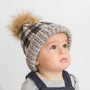 Grey Buffalo Check Pom Beanie