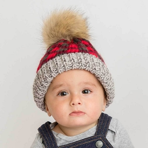 Red Buffalo Check Pom Beanie