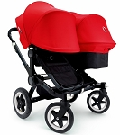Bugaboo Donkey Duo + Stand (Floor Model) - Red & Black
