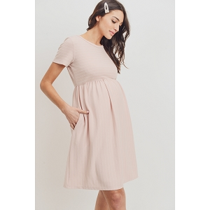 Blush Short Sleeve Stripe Maternity Dress