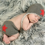 Huggalugs Star Diaper Cover & Hat Set - Red & Grey