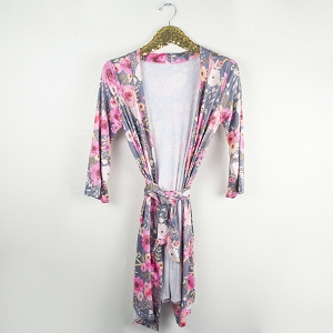 Mommy Robe - Grey Floral