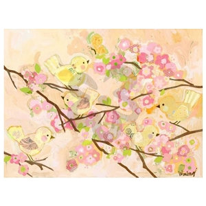 Cherry Blossom Birdies Butter Cream Canvas Reproduction