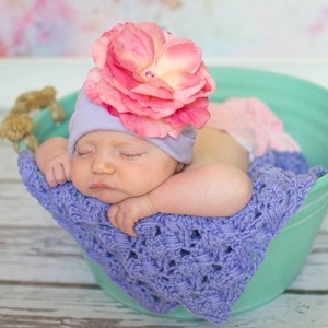 Lavender Hat with Candy Pink Rose