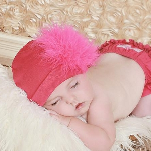 Raspberry Cotton Hat with Hot Pink Marabou