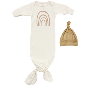 Clay Rainbow- Long Sleeve Infant Tie Gown & Hat